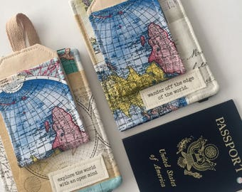 "Passport Cover World Map,  Luggage tag set ""explore the world"" passport case, travel gift"
