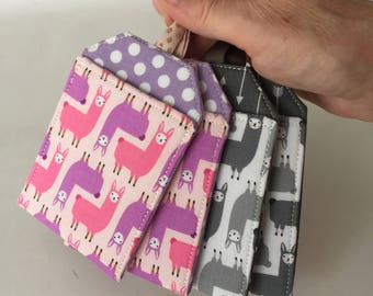 Luggage Tag, Llamas in Pink or Gray, Luggage Tag Set, Travel Gift, Travel Accessory, Bag Tag, Backpack Tag, Luggage Tag Holder, Alpacas