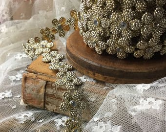 Almost 9 Feet Lot Textured Gold Tone Metal Clear Rhinestone Flower Trim 1950's 1960's Hand Sew Dressmaking Sewing Supplies Mod Wear