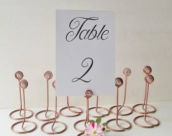 Copper Rose Wedding Table Number Holder Set of 12 Elegant Spiral Design Sign Holders for Table Centerpiece  Place Card Table or Buffet Decor