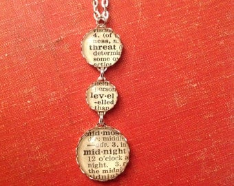 The Office Threat Level Midnight Necklace - Funny Michael Scott Tribute - 1930s Recycled Dictionary Clippings Become Perfect Fun Office Gift