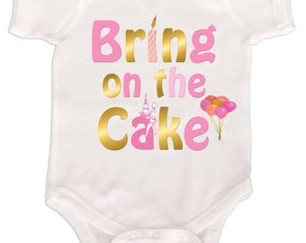 Girls First Birthday Bodysuit 1st Birthday One Piece Pink Gold Foil Cake Smash Romper by Mumsy Goose
