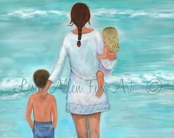 """Mother Son Daughter Art Print Family Beach Art  Mother Kids Children Art Beach Theme Ocean """"Beautiful Beach Day"""" Leslie Allen Fine Art"""