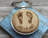 Custom Baby Footprint Round Key Chain with your baby's actual footprints