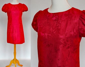 60's Brocade Mini Dress with Puff Sleeves / A-line Shift Sheath Dress / Dark Pink / Rosy Red / Small