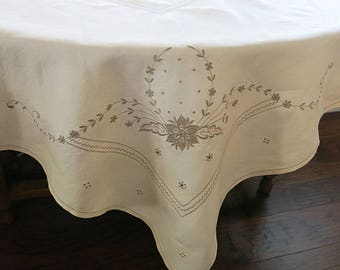 Fine Ivory Linen Tablecloth Square with Deep Ecru Embroidery 1950s 60s Vintage Tea Party or Shower Linen