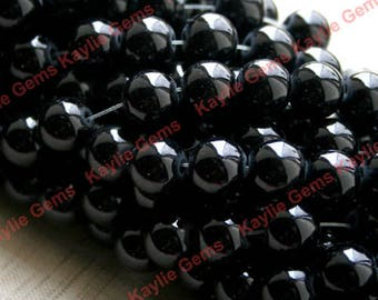 2 Strands 12mm Smooth Round Glass Bead Opaque Black