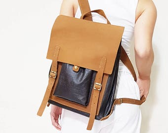 Leather Backpack, Shoulder Bag, Vintage Backpack, Satchel, Leather Rucksack Backpack, Unisex Backpack,Tanned Leather, Rustic Leather Bag