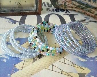 Set of 3 Seed Bead Wrap Bracelets - Many ways to wear - Iridescent - Purple, Multi and Gray - Boho chic - Bohemian jewelry - bycat
