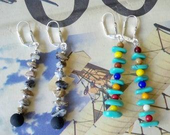 Set of 2 - Dangle earrings - Boho chic - Bohemian earrings - Turquoise, Jasper chips, etc. - One of a Kind - bycat