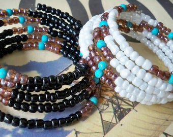 2 Wrap Bracelets - Black seed beads and White seed beads - Memory wire - One size fits all - Boho chic - Bohemian cuff - bycat