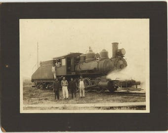 Antique Railroad Photo, Steam Engine, Train Workmen, Mounted on Cardboard, Vintage Transportation Black and White Collectible Paper Ephemera
