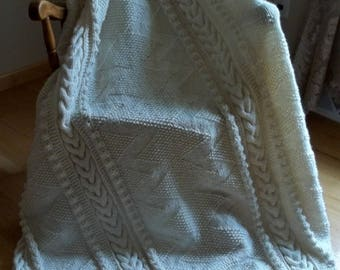 Knit Afghan in ZigZag, Soft White, Blanket, Throw