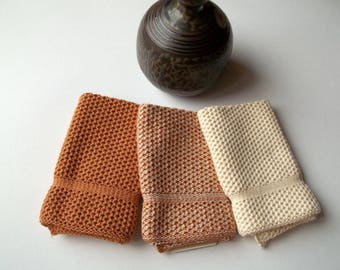 Dishcloths Knit in Cotton in Calfskin and Off White, Dish Cloth, Knit Washcloth, Wash Cloth
