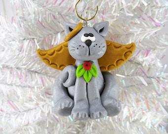 Angel Cat Christmas Ornament - Cat Angel Christmas Ornament - Pet Ornament - Gift for Cat Owner - Grey Cat Ornament -1219