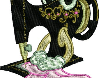 Miss Sewing Machine, Machine embroidery design
