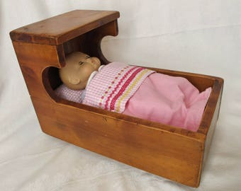 Vintage Doll Cradle Heavy Wood Rocking Bed with Bedding Baby Rocker Wooden Toy Children  Mattress Blanket Pillow Linens Bitty Size