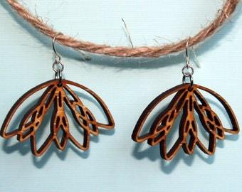Boho Laser cut earrings. Wood lotus earrings. Boho flower earrings. Botanical earrings. Lotus Earrings. Festival Earrings. Yoga earrings.