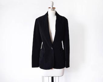 black velvet blazer, vintage 1980s black blazer, 80s blazer, medium women's blazer, black velvet jacket, winter fashion