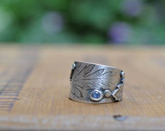 Sterling Silver Topaz Ring, Oxidised Sterling Silver leaf Ring, Rustic Gemstone Metalwork Ring