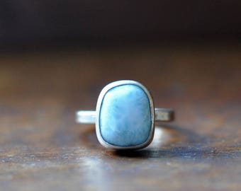 xX 25% SALE Xx Sterling Silver Larimar Ring, Oxidised Sterling Silver Stacking Ring, Rustic Gemstone Metalwork Ring