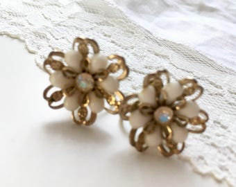 Vintage White Flower Earrings With Metal Petals & Iridescent AB Rhinestone Center