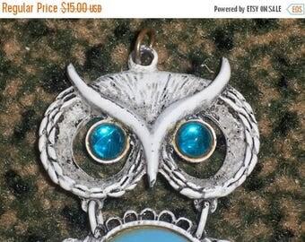 SALE Vintage Large Owl Bird Pendant Blue Type stone maybe Cabochon