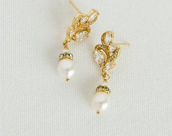 Gold Wedding Earrings,  CZ Bridal Earrings, Wedding Jewelry, Pearl Wedding Earrings