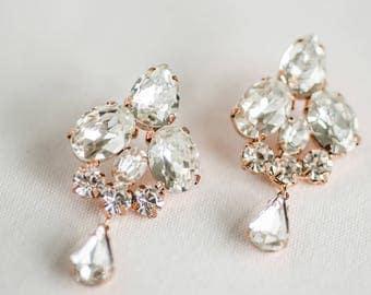 Rose Gold Bridal Earrings, Rose Gold wedding Earrings, Chandelier Earrings