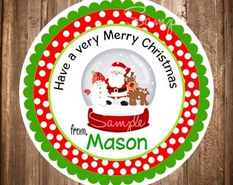 Christmas Printable Stickers or Tags, Holiday Labels, Personalized Favor Tags,Snowglobe Stickers,Holiday Favors, Digital Christmas,YOU PRINT