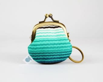 Keychain purse - Mexican stripes in green - Big Lillipurse / Metal frame coin purse / Japanese fabric / black white green