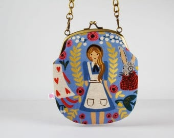 Metal frame purse with strap - Wonderland canvas in blue - Bag smile / Japanese fabric / Rifle Paper Co for Cotton and Steel / Alice