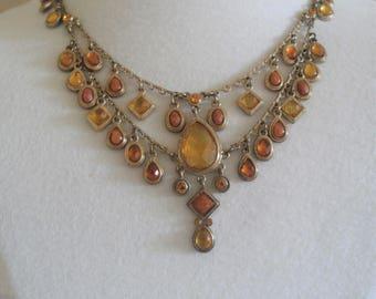 Signed Carolina Herrera Brown Caramel Gold Tone Vintage Necklace