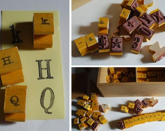 Rubber Stamps Alphanumeric Alphabet Numbers Special Characters Upper Lower Case Typography Glyphs Toy Altered Art Craft Scrapbook Printing