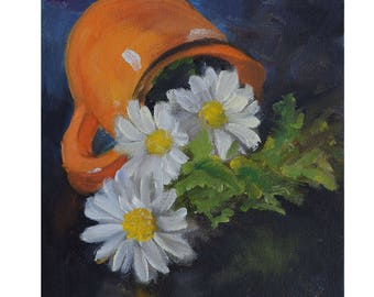 Small 6x6 Floral Still Life Painting Daisies Spilled Out Of Orange Pitcher,Original Oil Painting on Canvas by Cheri Wollenberg