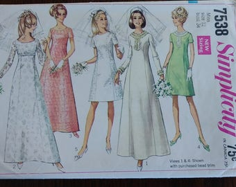 Simplicity 7538 Sixties Princess Seamed Wedding Dress Bridesmaid Size 12 Bust 34