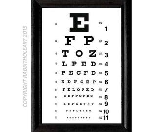 EYE CHART Exam Art Print wall decor optometry optometrist doctor typography Instant Printable Digital Download file DIY 8x10, 5x7, 4x6