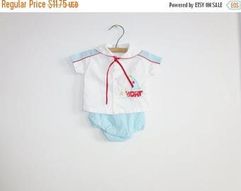 SALE // Vintage Baby Boy Nautical Outfit