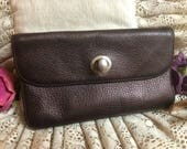 Vintage HOBO International pebbled leather clutch wallet, brown metallic leather clutch organizer wallet, expanding wallet clutch