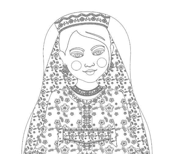 Moroccan Doll Folk Dress Coloring Sheet Printable Matryoshka