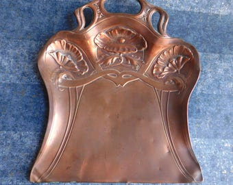 Antique J.S.&S.B. Solid Copper Art Nouveau Dust Pan - Victorian Crumb Catcher - Embossed Floral Design - Made in England - Vintage Metalware