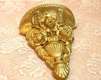 Gold Floral Plaster Wall Sconce
