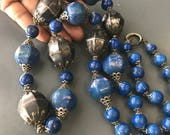 RESERVED fo Sasala ~ 2nd Payment / MASSIVE statement Necklace . Antique Sri Lanka Necklace . lapis Beads . Tribal  Silver jewelry