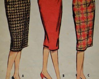 1950s McCalls Skirt Pattern, Skirt Pattern, Pencil Skirt Pattern, Wiggle Skirt Pattern, Women's Skirt Pattern, Pattern, No 5082,