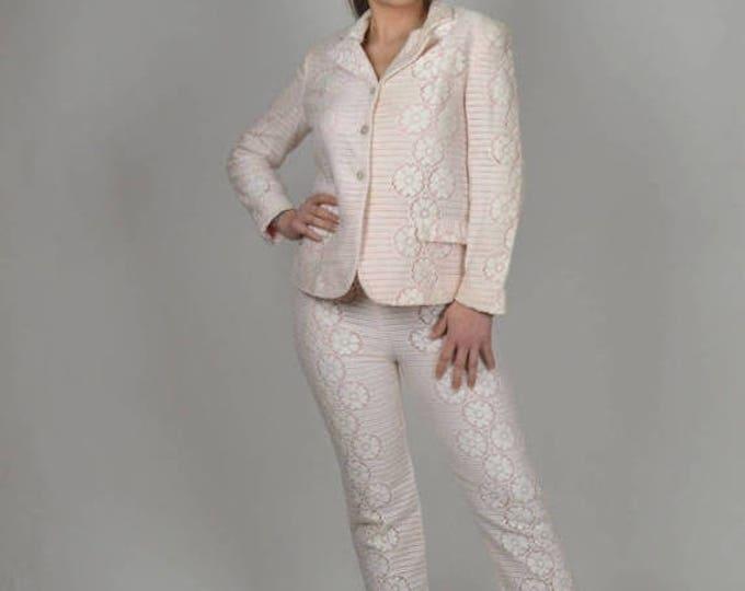 sale Vintage Suit, 70s Suit, Evan Picone, White Lace Suit, Three Piece Suit Set, Lace Blazer, Skirts, Pants,Summer Suit, Lace Suit, Resort S