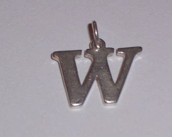 Vintage Sterling Silver Initial W Charm