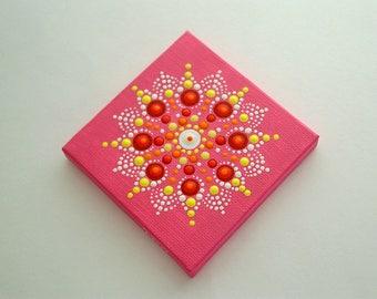 Sale-OOAK 3D mini mandala canvas wall art-3x3 dot art-hot pink summer-neon glow-pointillism-aboriginal-Zen-hippie boho-summertime gift ideas