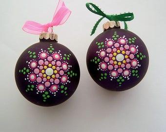 Hand painted Christmas tree ornaments-ooak glass mandala mauve pink green glow-Holiday Decorations host hostess coworker yoga teacher gift