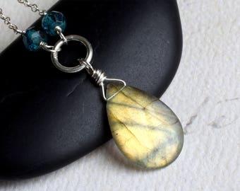 "Labradorite Necklace, London Blue Topaz, Sterling Silver - ""Golden Sea"" by CircesHouse on Etsy"