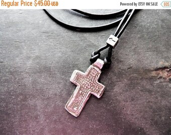 30% OFF CIJ Artisan Jewelry, Silver Cross Necklace, Religious Jewelry, Celtic Cross Replica, Leather Necklace, Rustic Handcrafted, Silver Ne